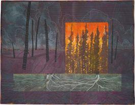 """Spruce Smoke"", fiber art by Ree Nancarrow."